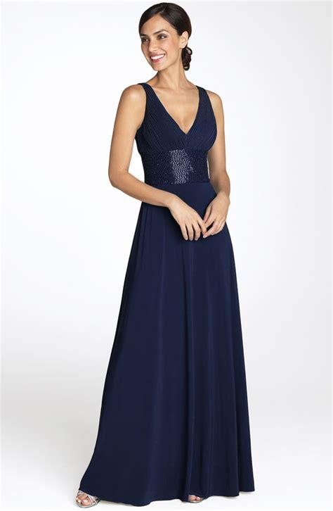 navy blue sheath column v neck length zipper