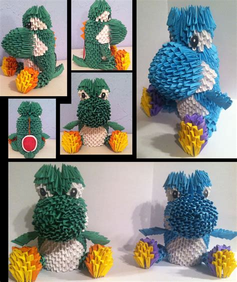 3d origami yoshi by camelliawolf on deviantart