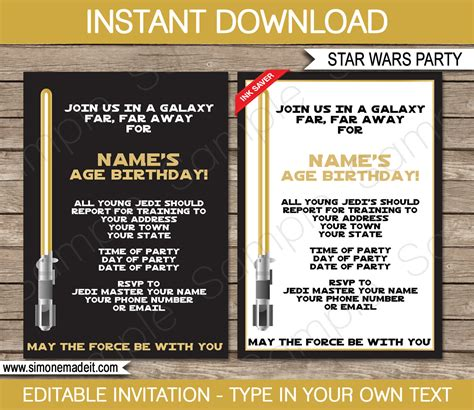 wars birthday invitation template wars invitation template gold birthday