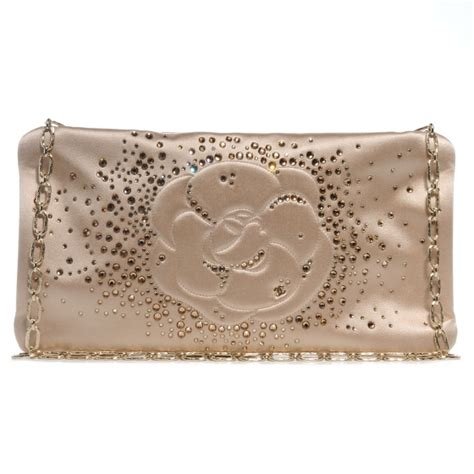 Chanel 2006 Chanel Satin Camellia Evening Purse by Chanel Satin Diamante Camellia Evening Clutch Bag Light