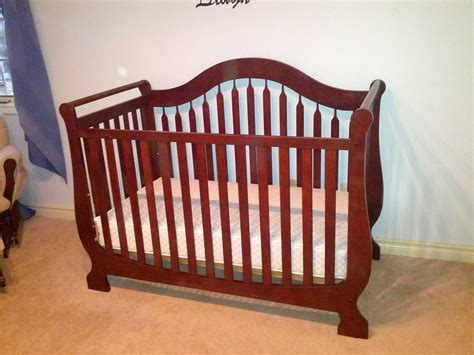 Sleigh Bed Crib Market Cherry Sleigh Bed Crib And Mattress
