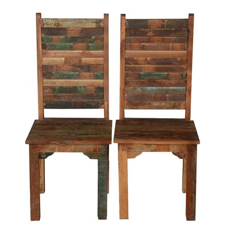Rustic Distressed Reclaimed Wood Multi Color Dining Chairs Distressed Wood Dining Chairs