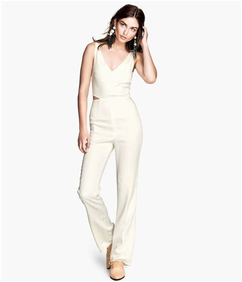 Jumpsuit M Fashion h m lyocell jumpsuit in white lyst