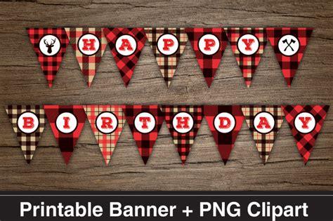 lumberjack happy birthday printable banner png clipart