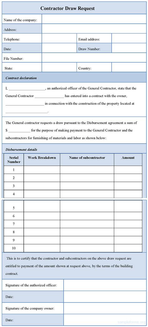 Contractor Draw Request Form Sle Forms Contractor Request For Template