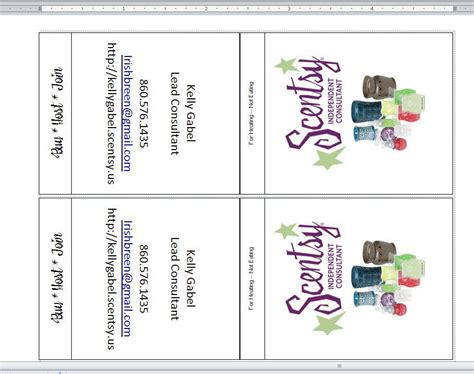 Printable Business Card Template For Scentsy by Independent Scentsy Consultant Make Your Own Scent Books