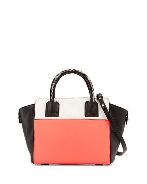 Transitions Color Block Handbag by Milly Logan Colorblock Leather Tote Bag In Pink Coral