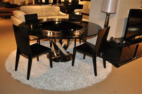 spiral black crocodile lacquer table w lazy susan