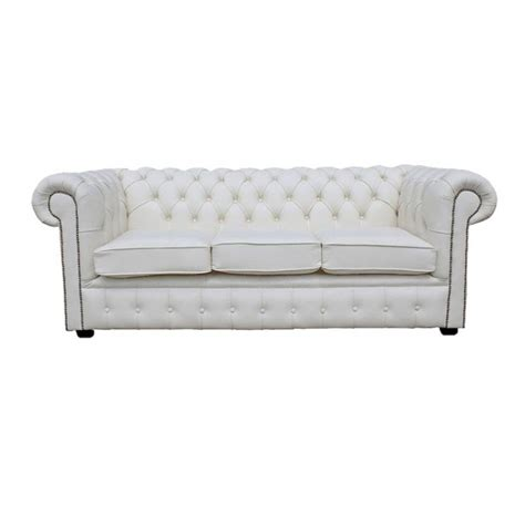 genuine chesterfield sofa chesterfield shelly white genuine leather three seater sofa