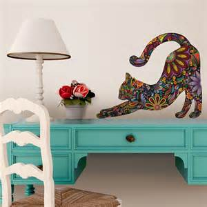 Repositionable Wall Stickers stretching cat wall sticker repositionable floral cat wall decal