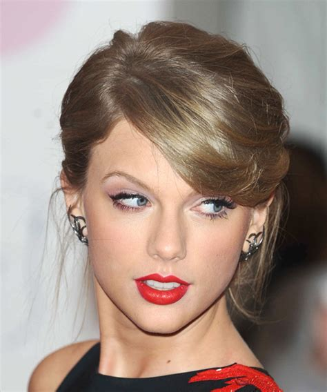 taylor swift ash dark blonde hair taylor swift medium straight formal updo hairstyle with