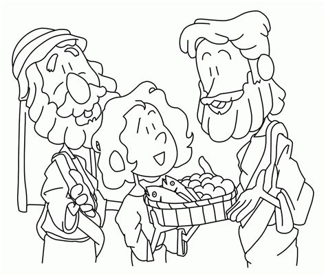 jesus feeds 5000 coloring page coloring home