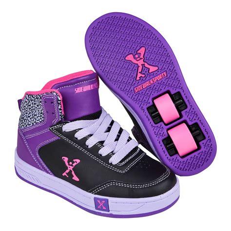 wheeled shoes sidewalk sport hi top skate lace up wheeled