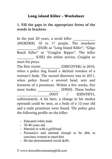Long Island Killer Worksheet (English for Law Enforcement