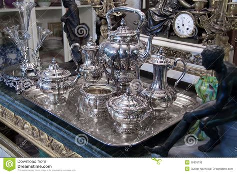 silver place settings sterling silver tea set antique stock image image 19570159