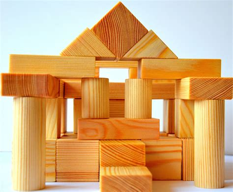 50 natural handmade pine wooden toy building blocks