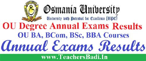 Ou Mba 1st Sem Results 2017 Manabadi by Ou Degree Results 2018 Ou Ba Bcom Bsc Bba Results