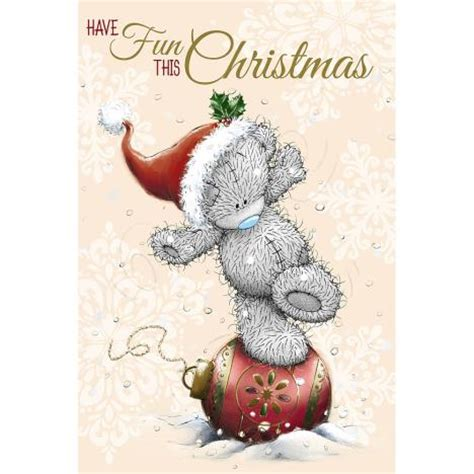 tatty teddy balancing  decoration    bear christmas card xms    bears