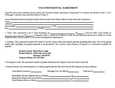 8 Vacation Rental Agreement Templates Sle Templates Condo Rental Agreement Template