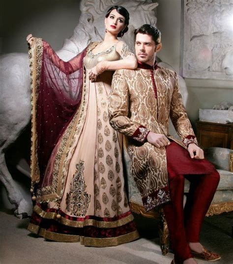Couples Matching Clothes India Bridal Anarkali Lengha Gown And Matching Sherwani
