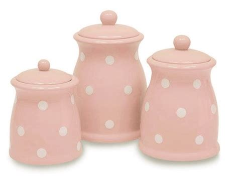 Pink Kitchen Canisters by Terramoto Ceramic 3 Piece Polka Dots Canister Set Pink