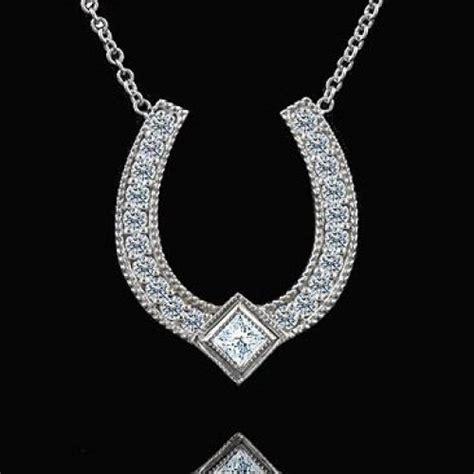lucky horseshoe 14k white gold pendant necklace