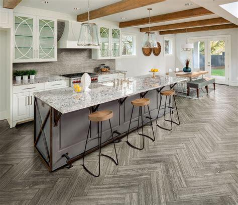 gray herringbone ceramic tile kitchen floor  tile