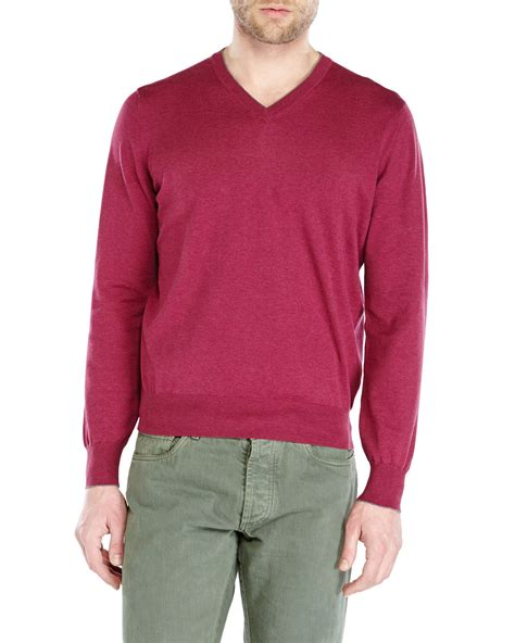 Sweater Pusple Maroon Lt Babyterry Maroon lyst brunello cucinelli burgundy v neck sweater in