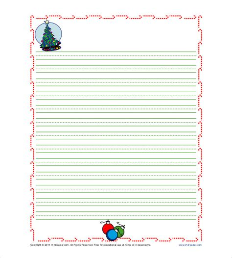printable christmas lined paper 10 writing paper templates free sle exle format