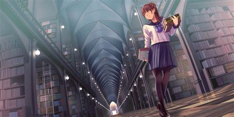 wallpaper anime girl library school uniform books