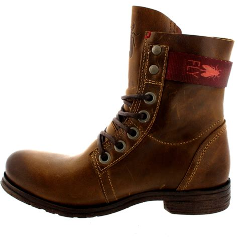 leather boots for uk womens fly stay lace up leather buckle