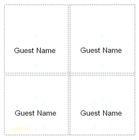 Tent Folded Place Card Template