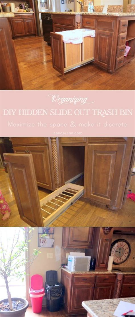 diy hidden trash can cabinet diy hidden slide out trash and recycle bin keep trash and