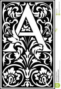 decorative letter a flowers decorative letter a balck and white stock photos