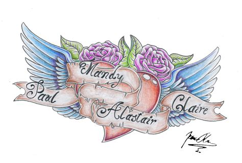 heart and scroll tattoo designs wings and scroll by jovictory on deviantart