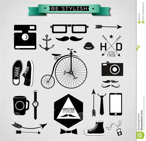 hipster design elements vector hipster style stock image image 35215731