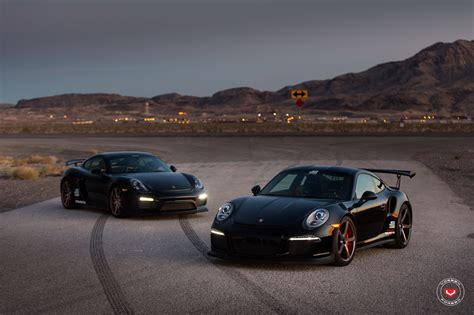 black porsche gt3 sith twins porsche 911 gt3 rs and cayman gt4 on vossen