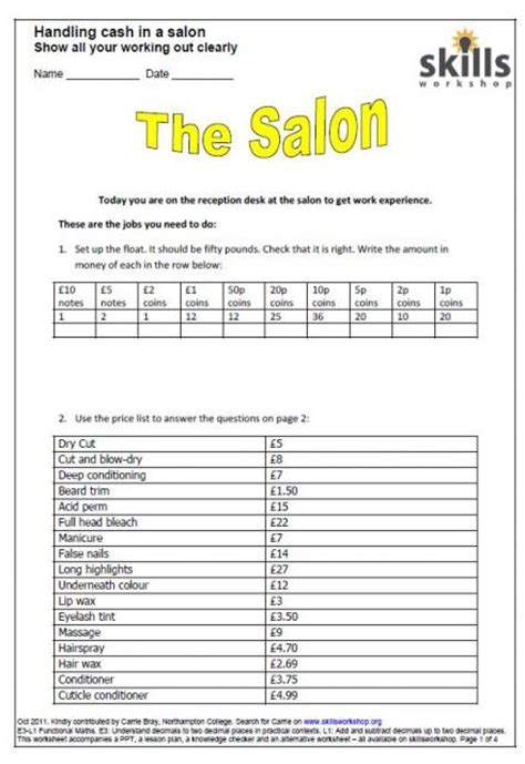 Lesson Plan Template Hairdressing | printables salon budget worksheet beyoncenetworth