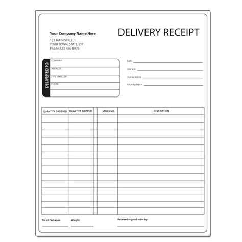 Receipt Of Delivery Template by Delivery Receipt Template Kinoroom Club