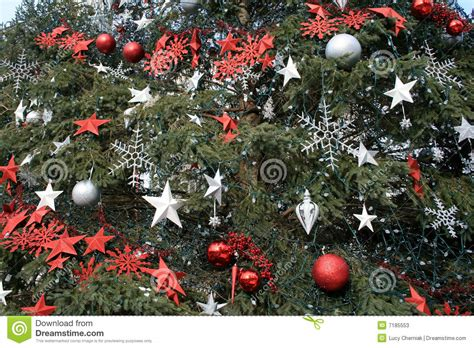 christmas decorations on fir tree stock photos image