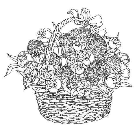 coloring book for adults gift basket easter eggs and tulips in a wicker basket in