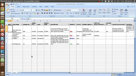 building defect report template defect tracking template xls