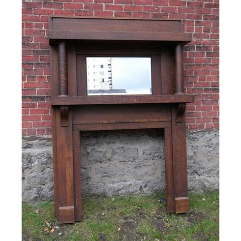antique arts crafts oak fireplace mantel