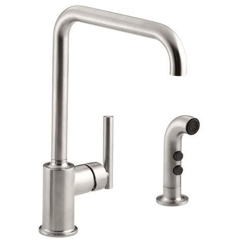 one kitchen faucet with sprayer shop kohler purist vibrant stainless 1 handle high arc kitchen faucet with side spray at lowes