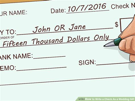 Wedding Gift Money Amount by 3 Ways To Write A Check As A Wedding Gift Wikihow