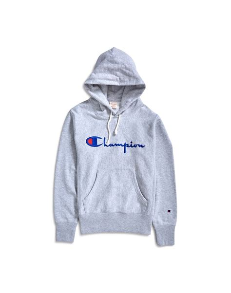 Chion Weave Logo Hoodie chion weave script logo hoodie grey at the idle
