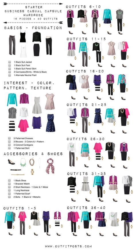 Basic Business Wardrobe by Starter Business Casual Capsule Wardrobe Checklist