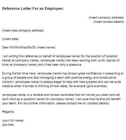 Reference Letter Exles For Employee Reference Letter For An Employee Sle Just Letter Templates