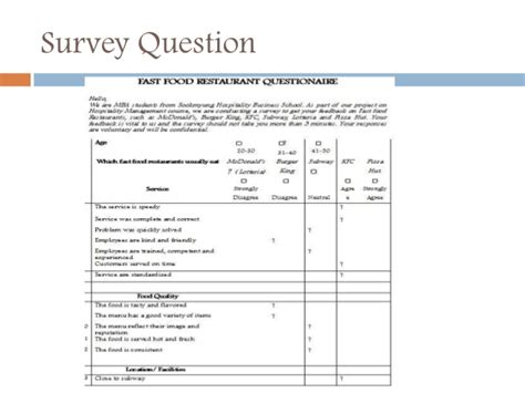 food questionnaire template measuring service quality and customer satisfaction in