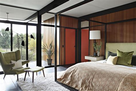 classic mid century master bedroom design with king size mid century modern elegance by jamie bush co
